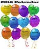 календарь 2015 воздушных шаров Стоковая Фотография