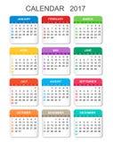 Календарь 2017 в вертикальном стиле Стоковая Фотография