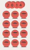 Календарь 2014 в кругах Стоковые Изображения RF