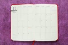 Календарь в ноябре японца в дневнике 2016 Стоковые Фото