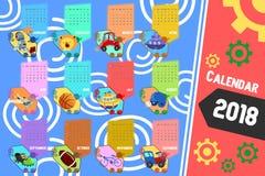 Календарь 2018 в стиле шаржа бесплатная иллюстрация