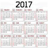 Календарь года 2017 Стоковые Изображения