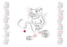 Календарь 2020 год крысы Стоковая Фотография