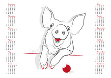 Календарь 2019 год свиньи Стоковое Изображение RF