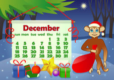 Календарь 2016 год с обезьяной декабрь иллюстрация вектора