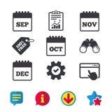 Календарь Декабрь -го октябрь -го ноябрь -го сентябрь, иллюстрация штока