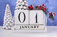 Календарь деревянного блока Нового Года Стоковые Фото