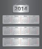 Календарь 2014 испанских языков Стоковое Изображение