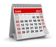 Календарь - июнь 2017 Стоковая Фотография