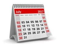 Календарь - июль 2017 Стоковая Фотография RF