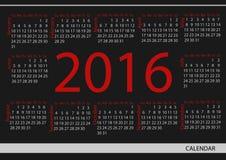 Календарь 2016 круга вектора Неделя начинает от воскресенья Стоковые Изображения