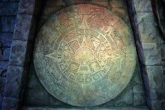 Календарь Майя племени текстура камня утеса мха Стоковые Изображения