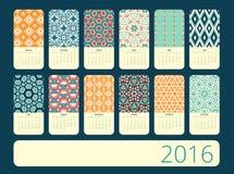 Календарь 12 месяца Геометрическая картина год сбора винограда Стоковые Изображения