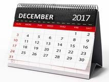 Календарь настольного компьютера декабря 2017 иллюстрация 3d Стоковое Фото