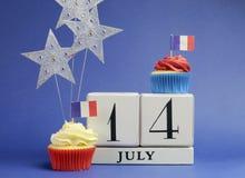 Календарь национального праздника Франции, 14-ое июля, четырнадцатый из июля, дня -го Бастилии Стоковые Фотографии RF