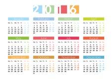 Календарь на 2016 в английском Стоковая Фотография