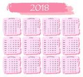 Календарь на 2018 в розовом цвете на белой предпосылке Стоковое фото RF