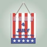 Календарь на День независимости Дата календаря четвертом -го в июле Карточка с национальным флагом для приветствовать Стоковая Фотография RF