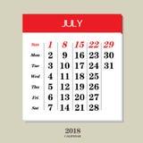 Календарь на июль 2018 Стоковые Фотографии RF