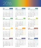 Календарь на 2016 на белой предпосылке Неделя начинает понедельник Стоковые Фотографии RF
