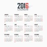 Календарь на 2016 на белой предпосылке Стоковая Фотография RF