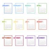 Календарь на 2016 Неделя начинает понедельник Стоковая Фотография RF