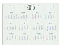Календарь на странице тетради Стоковое Изображение