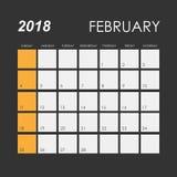 Календарь на февраль 2018 иллюстрация штока