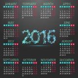 Календарь на 2016 Иллюстрация штока