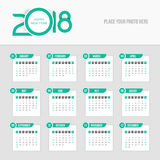 Календарь 2018 - неделя начинает воскресенье Стоковые Фотографии RF