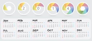 Календарь 2014 Новых Годов Стоковое Изображение
