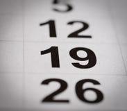 Календарь 19 номеров Стоковая Фотография