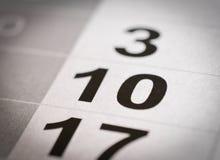 Календарь 10 номеров Стоковое Фото
