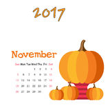 Календарь ноябрь 2017 лавр граници покидает вектор шаблона тесемок дуба Неделя начинает воскресенье Стоковое Изображение