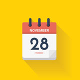 Календарь дня с датой 28-ое ноября 2017 также вектор иллюстрации притяжки corel Стоковая Фотография RF