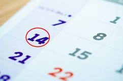 Календарь 14-ое февраля Стоковое Изображение