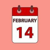 Календарь 14-ое февраля Стоковые Фото