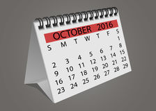 Календарь октябрь 2016 страницы поворота настольного компьютера Стоковая Фотография RF