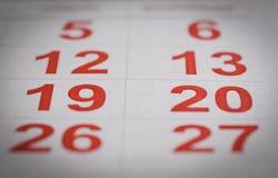 Календарь праздника, 12 и 20, суббота воскресенье Стоковое Изображение