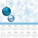 Календарь, предпосылка 2017 рождества счастливое Новый Год также вектор иллюстрации притяжки corel Стоковая Фотография RF