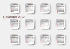 Календарь планирования на плитках на 2017 Стоковая Фотография RF