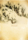 Календарь ретро. Декабрь. Винтажный ландшафт зимы. стоковая фотография