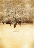 Календарь ретро. Февраль. Винтажный ландшафт зимы стоковое изображение