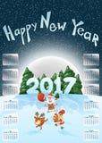 Календарь 2017 счастливое Новый Год рождество веселое Год петуха Весёлое Санта на санях Олени Santas и петух Символ бесплатная иллюстрация