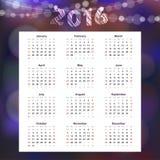 Календарь 2016 с гирляндой блестящих светов, Стоковое Фото