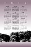 календарь 2014 с деревьями Стоковые Изображения