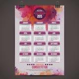 Календарь с краской 2015 акварели Стоковые Изображения