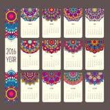 Календарь 2016 с мандалами иллюстрация вектора
