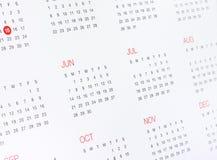 Календарь с месяцами и днями Стоковые Изображения RF