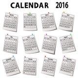 Календарь 2016 с месяцами Стоковое Изображение